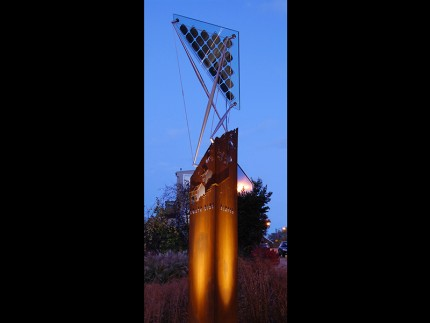 """Slopes Pylon, designed by Loysen + Kreuthmeier Architects, is a """"self-portrait of a neighborhood rendered in steel, aluminum, and glass."""" Photo credit Loysen + Kreuthmeier Architects."""