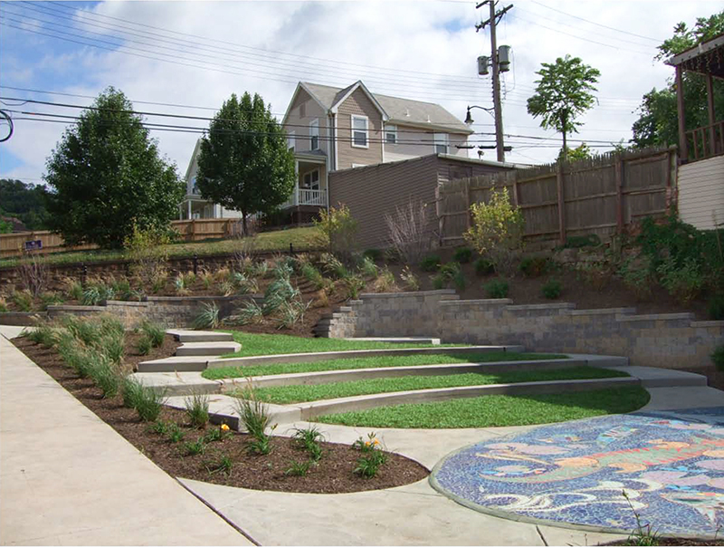 Completed in September 2008, Civil & Environmental Consultants transformed an abandoned lot into the Verona Street Art Park. Seen here, the view from Braddock Avenue. Photographs by Civil & Environmental Consultants, Inc.