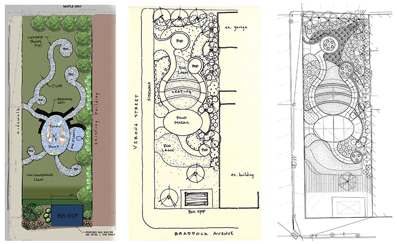 From left: Early conceptual drawing, final concept used for construction documentation and final layout.