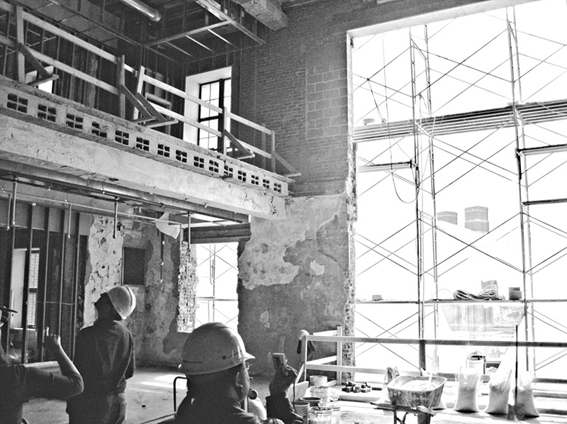 Interior atrium space for resident activities under construction.